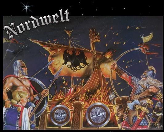 Wikinger Bestattung Begräbnis brennendes Wikingerschiff Langboot Poster Kunstdruck