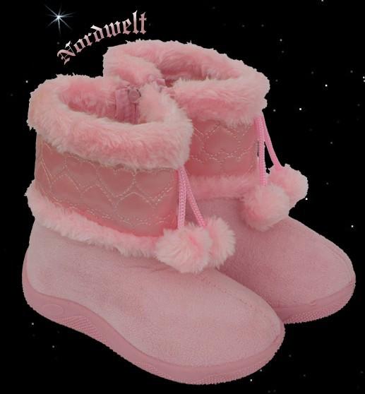 Fell- Hausschuhe für Babys warme Baby Fellschuhe rosa für Mädchen
