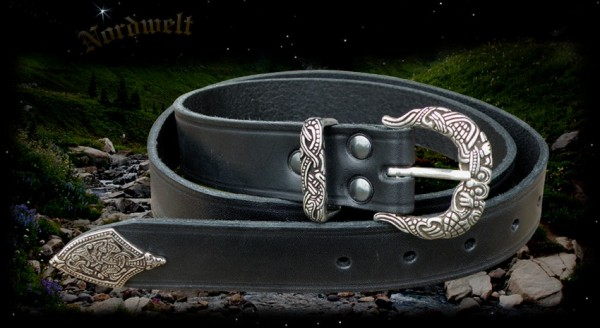 Wikinger Gürtel aus Leder - schwarz