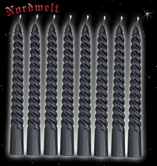 Spiralkerzen - schwarz, 8 Stück