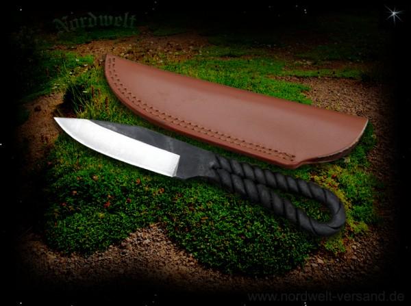 Messer tordierter Messerstahl Mittelalter mit Lederscheide