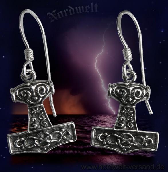 Thors-Hammer Ohrschmuck, 925er Silber Ohranhänger Thorshammer Mjölnir