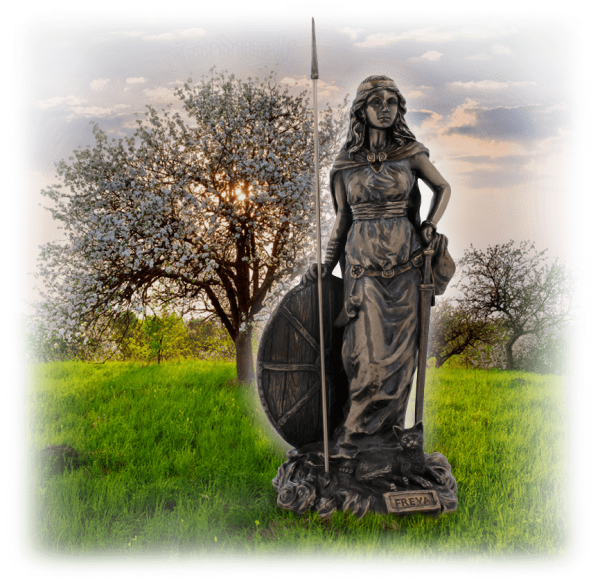 Freya Göttin der Liebe der Fruchtbarkeit und Frühling bronziert Figur Statue