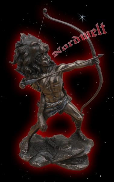 Krieger mit Langbogen und Löwenfell, bronzefarbend, aus Polyresin