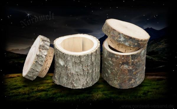 Holzdose Dose Holzstamm mit Korkdeckel Geocaching Cache Versteck Safe Nanocache Baumstamm