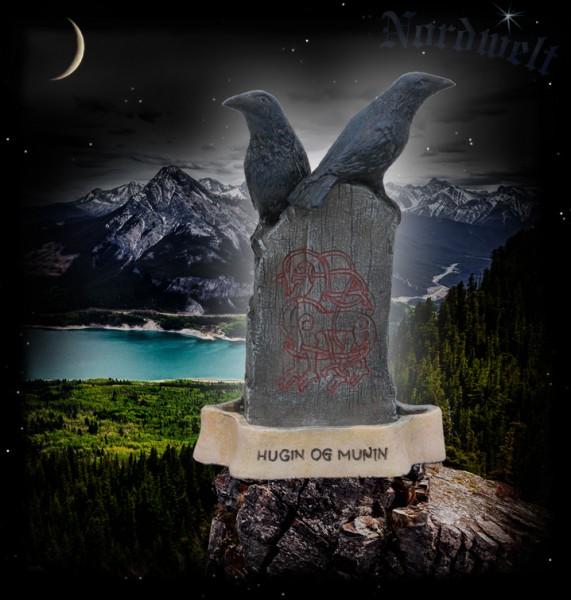 Hugin und Munin Odins Raben Figur Statue Wotan Wodan Rabe Menhir, Polyresin