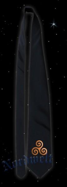 Krawatte, schwarz mit bronzefarbener Triskele