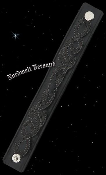 Wikinger Armband aus leder mit Schlangen Muster schwarz