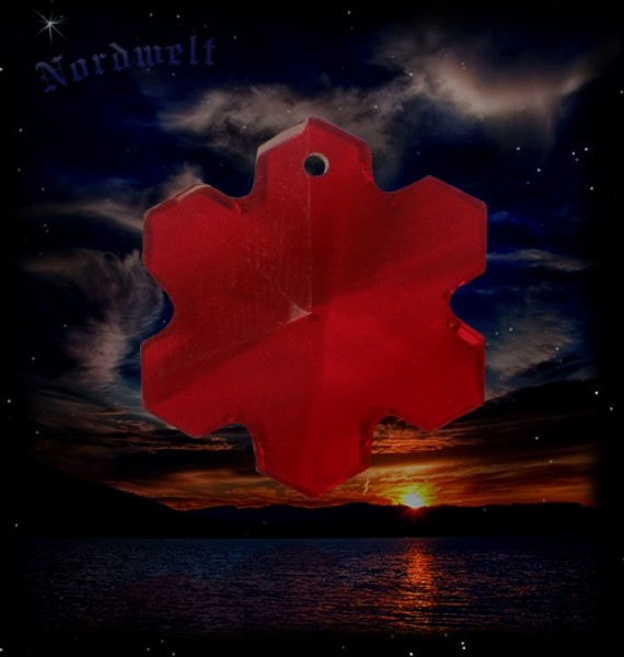 Hagal-Rune Bleikristall - Aufhänger, rot