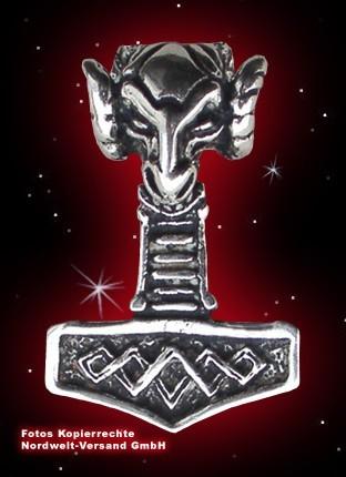 Thorhammer mit Widderkopf, 925er Silber