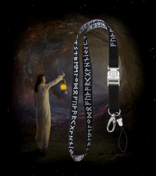 Runen Schlüssenband mit Thorhammer eingewebtes 24er Futhark