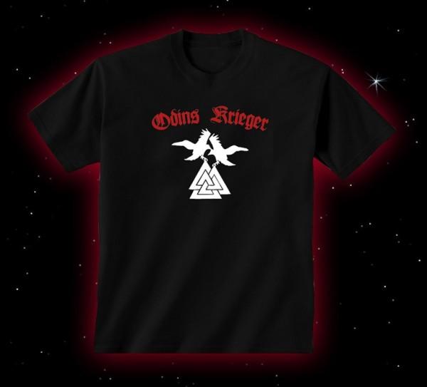 Odins Krieger T-Shirt mit Wotansknoten und Raben Hugin und Munin, Valknut T-Hemd heidnisch