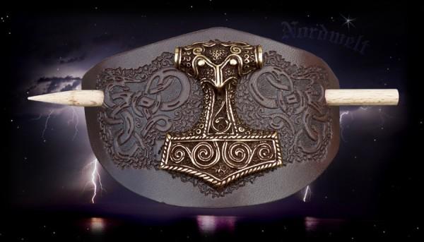 Haarspange Thorhammer Thors-Hammer Wikinger Haarschmuck Leder
