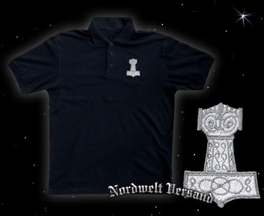 Polo Hemd mit Thorhammer Stickerei, Größe M