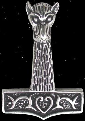 Großer Wolfskopf Thorhammer - 925er Silber