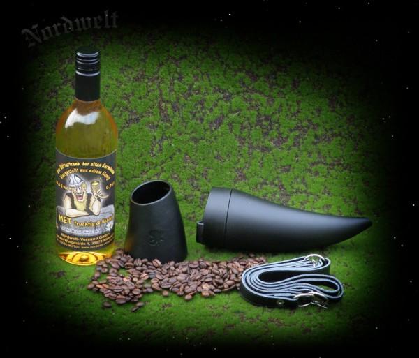 Trinkhorn Kaffeebecher Metbecher Met Hornbecher Ziegenleder BPA frei Teebecher Wikinger