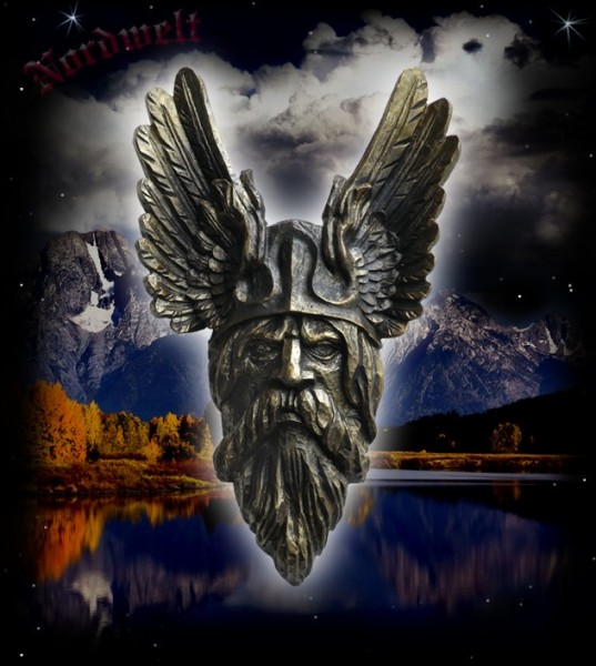 "Wandrelief / Wandbild ""Odins Kopf"", bronzefarbend"