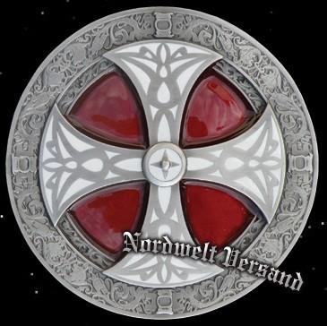 """Gürtelschnalle """"Kreuz"""", rot teil-emalliert, Zinn"""
