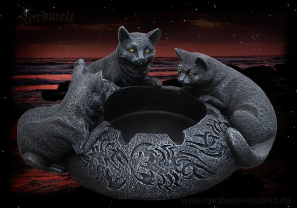 Aschenbecher mit frei schwarzen Katzen aus Polyresin (Kunststein)