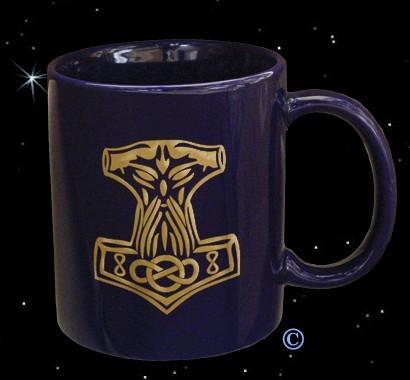 Kaffeebecher Kaffeepott blaue Tasse mit Thorhammer Gold-Druck Golddruck Thors-Hammer Mjönir