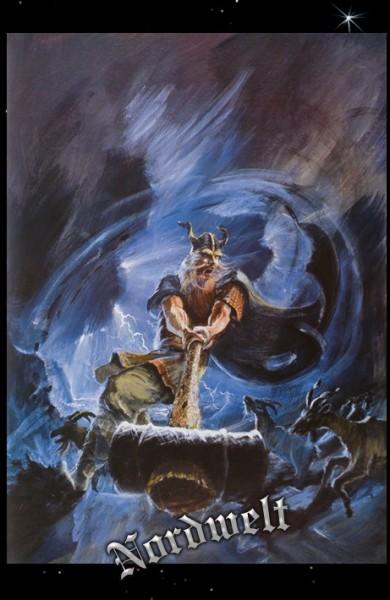 Thor mit Thorhammer Mjölnir Donnergott Hammer Poster Kunstdruck