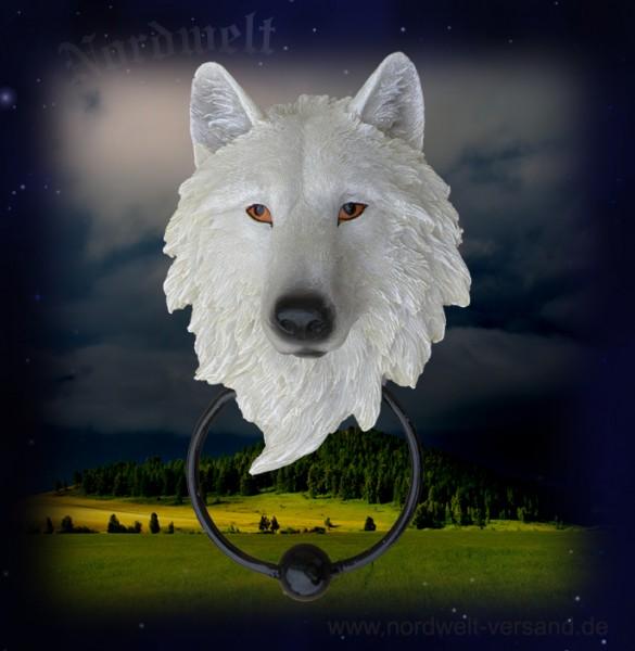 Fenriswolf Wolf Türklopfer Wolfskopf weiß Polyresin