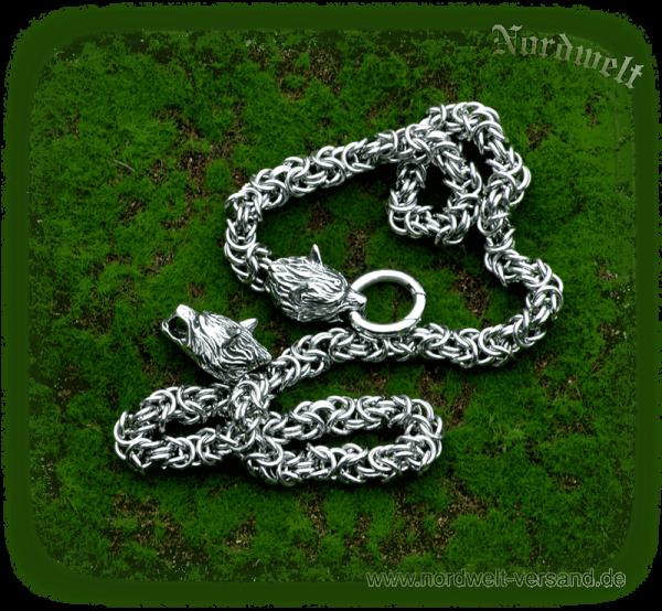 Edelstahl Königskette mit Wolfsköpfen Geri und Freki