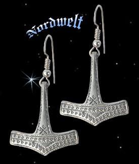Throhammer Ohranhänger Ohrhaken Thors-Hammer von Bornholm, 925er Silber Ohrschmuck