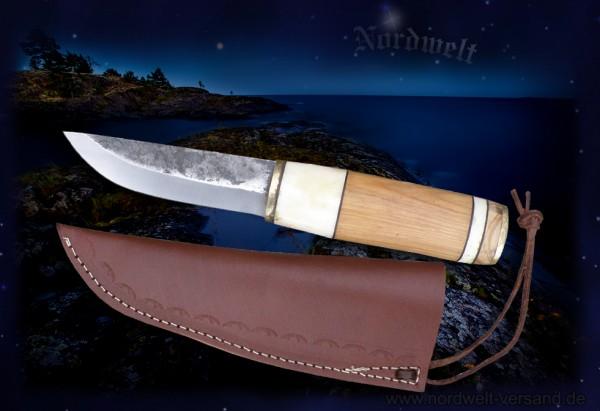 Wikinger Messer Gebrauchsmesser mit skandinavischen Muster Holz Knochen Griff