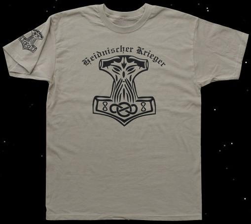 """T-Hemd Thorhammer """"Heidnischer Krieger"""" beige"""