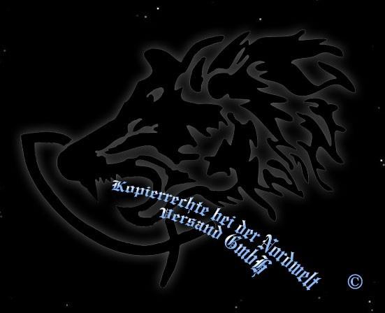 """PVC Aufkleber Fenris Wolf greift Fisch (15,5 x 11,5 cm) """"schwarz"""""""