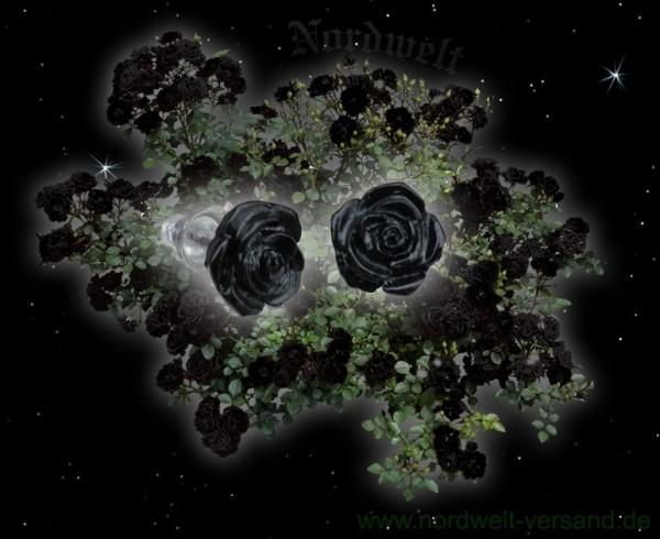 Ohrstecker schwarze Rose Gothik Ohrschmuck Kunststein Zinn