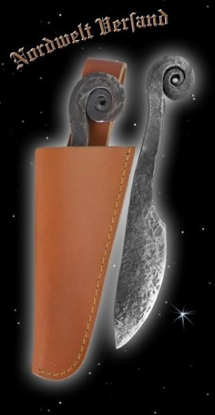 Ringknaufmesser mit brauner Lederscheide