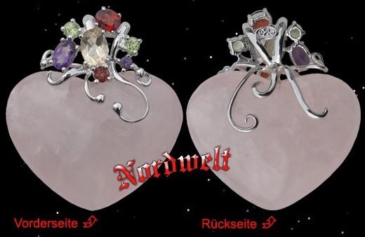 Herz - Anhänger aus Rosenquarz, mit kleinen Edelsteinen