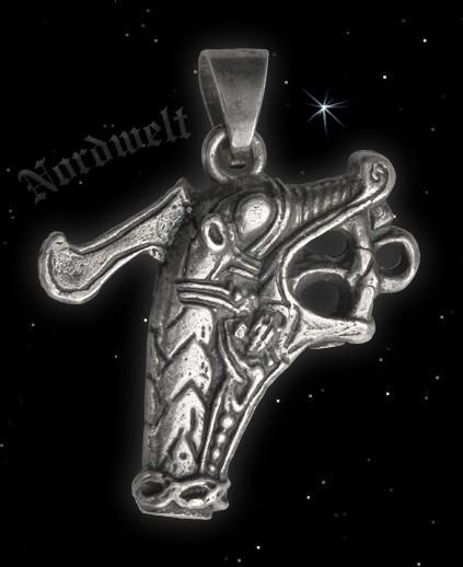 Drachenkopf vom Wikingerschiff - 925er Silber Wikingerschmuck Anhänger