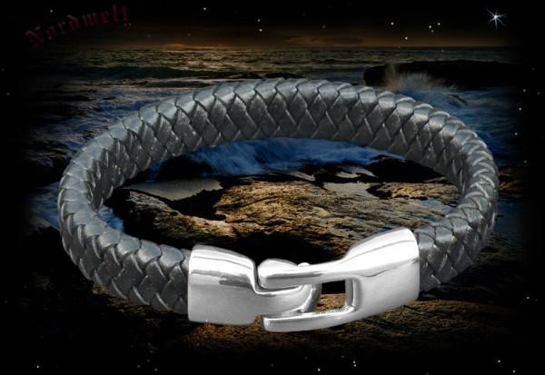 Armband Leder geflochten mit Edelstahl Verschluss