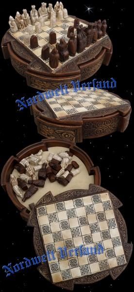 Lewis Mini Schachspiel Brettspiel mit Lewis Schachfiguren Wikinger historische Figuren