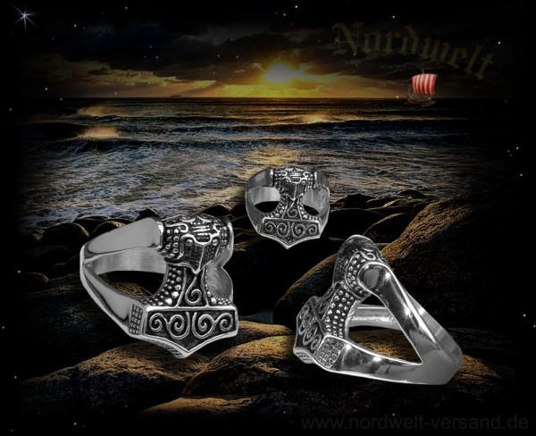 Ring Thorhammer Edelstahl Skane-Thors Hammer Schone
