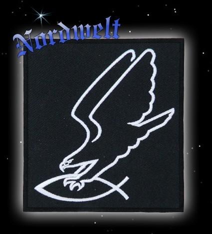 """Aufnäher """"Adler greift Fisch"""", gestickt"""
