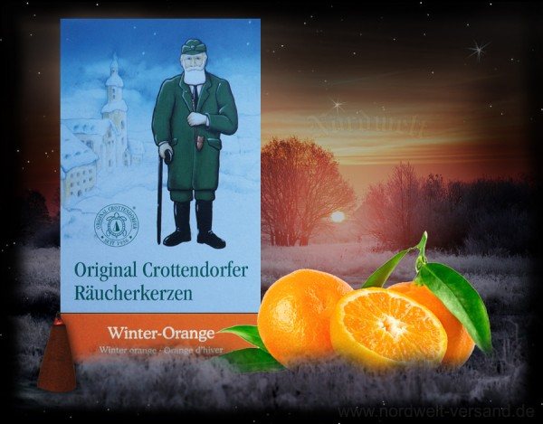 Winter Orange Räucherkegel Räucherkerzen Julfest Weihnachten original Crottendorfer