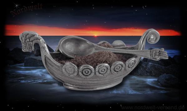 Wikingerschiff aus Zinn mit Löffelchen Salzschale Saliere