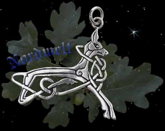 Eikthyrnir Hirsch Anhänger 925 Silber knabbert am Weltenbaum Yggdrasil