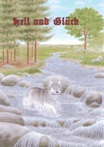 Heil und Glück Wolf mit Fisch im Maul heidnische Postkarte