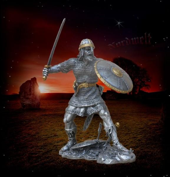 Wikinger mit Schwert und Schild aus Zinn