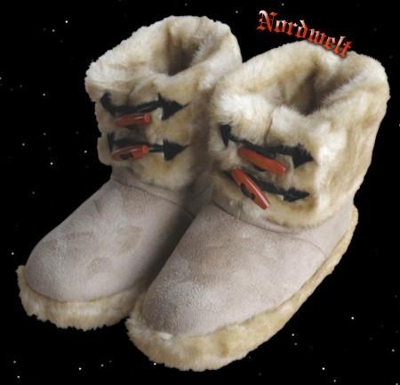 Fell- Hausschuhe Hüttenschuhe Kunstfell warme Winter Schuhe Puschen Webpelz Fellhausschuhe