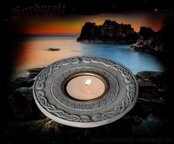 Teelichthalter mit Wikingermotiv - Wikingermuster grau Kunststein Polyresin