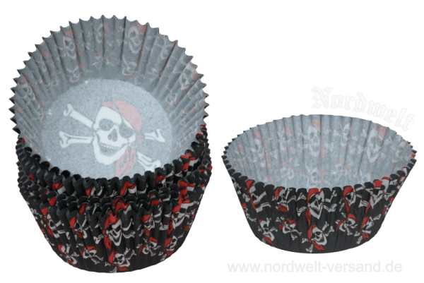 Piraten Backförmchen für Muffin - Muffinform Papier Backform Piratenkopf