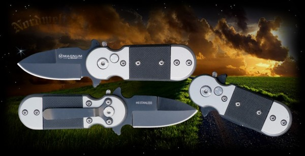 Magnum Taschenmesser Schwarzer Blitz mit Hosenclip kleines handliches Messer