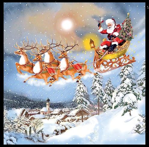 """Servietten """"Weihnachtsmann mit Gespann"""""""