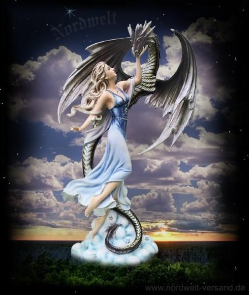 Fee Elfe Drache Drachentanz Polyresin Figur Statue Märchenfee